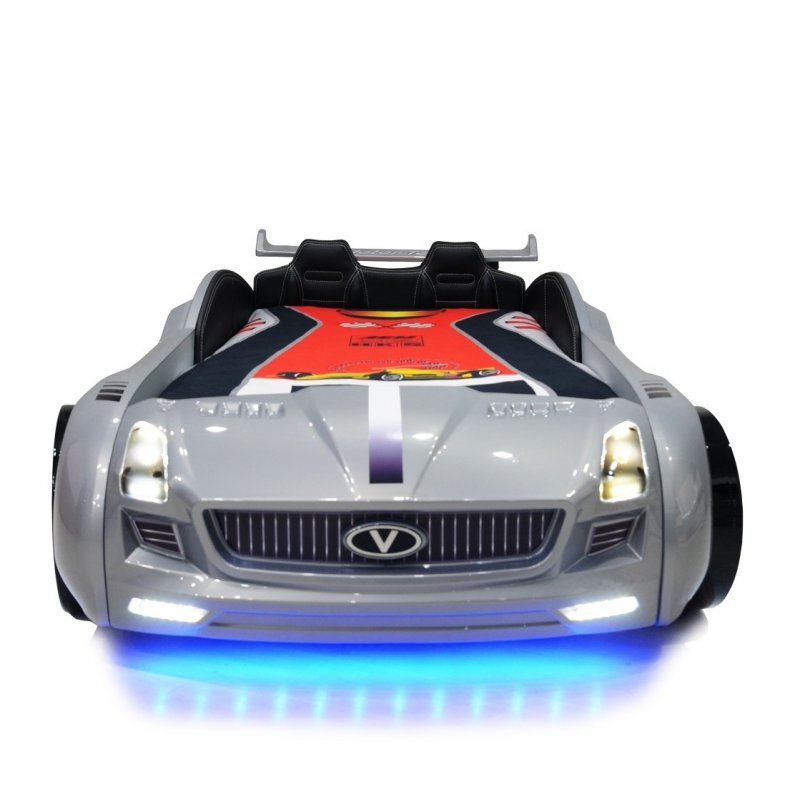 lit voiture pour enfant roadster eclairage led avec sommier 90x190. Black Bedroom Furniture Sets. Home Design Ideas