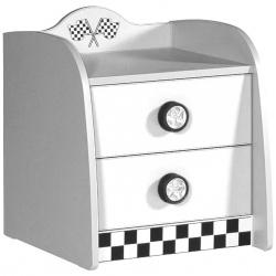 Lit voiture Table de chevet 2 tiroirs blanche