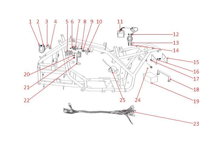 pi ces d tach es quad kx 125 luxe circuit lectrique euroimportmoto dirt bike quad enfants. Black Bedroom Furniture Sets. Home Design Ideas