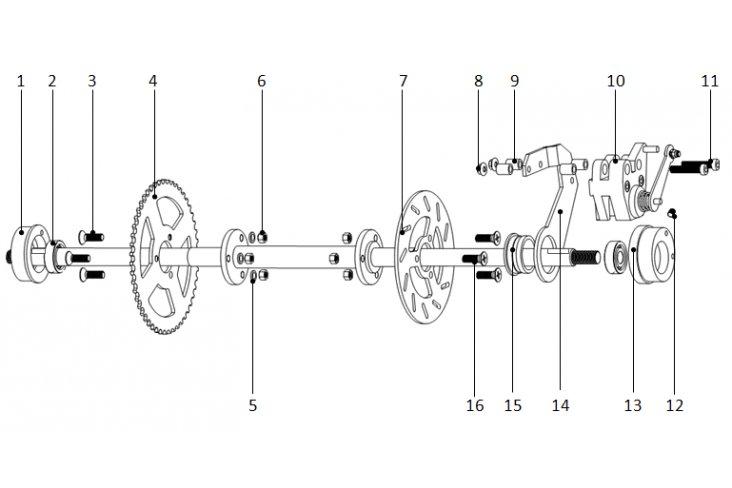 E1 / Axe arrière pocket quad