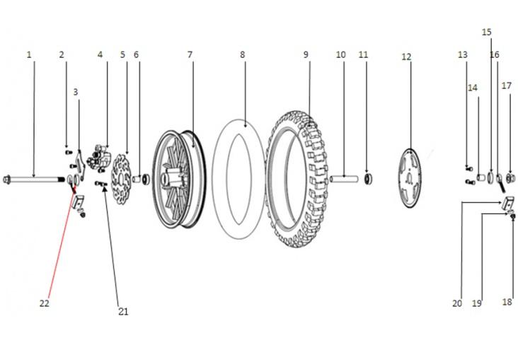 E / Roue arrière pocket bike